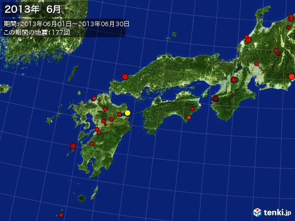 西日本・震央分布図(2013年06月)