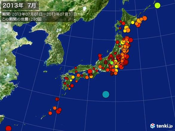 日本全体・震央分布図(2013年07月)