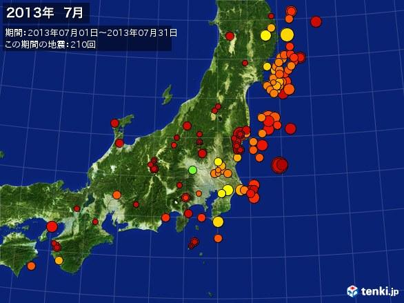 東日本・震央分布図(2013年07月)