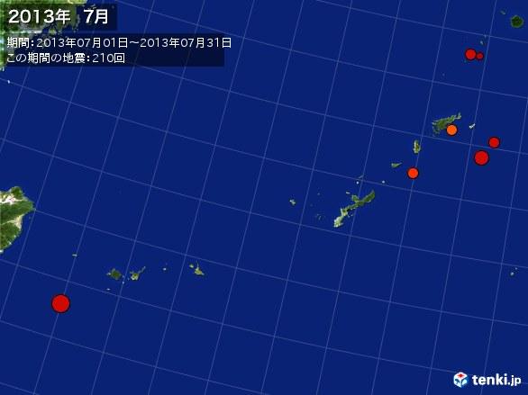 沖縄・震央分布図(2013年07月)