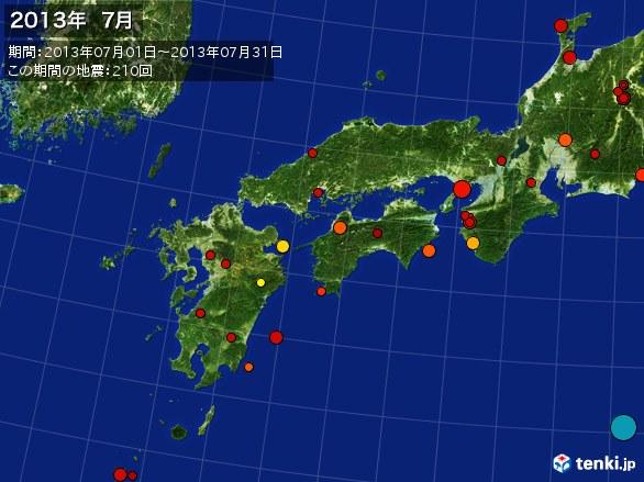 西日本・震央分布図(2013年07月)