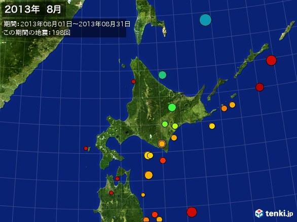 北日本・震央分布図(2013年08月)