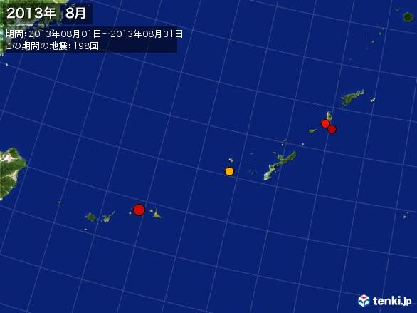 沖縄・震央分布図(2013年08月)