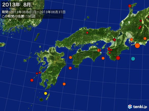 西日本・震央分布図(2013年08月)