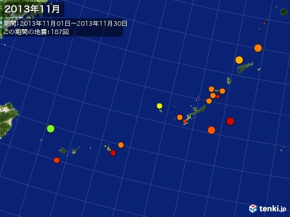 沖縄・震央分布図(2013年11月)