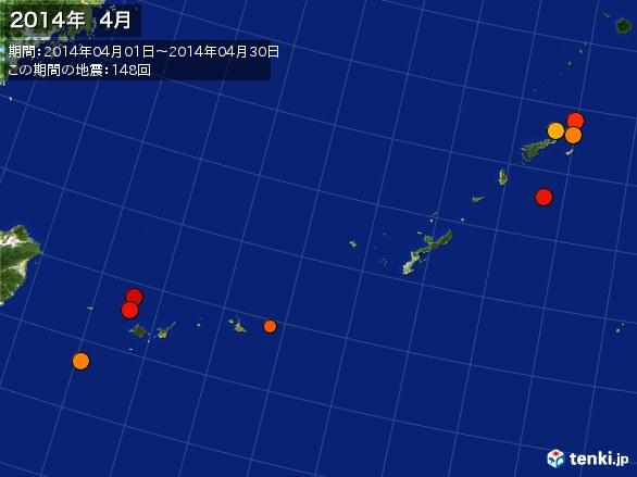 沖縄・震央分布図(2014年04月)