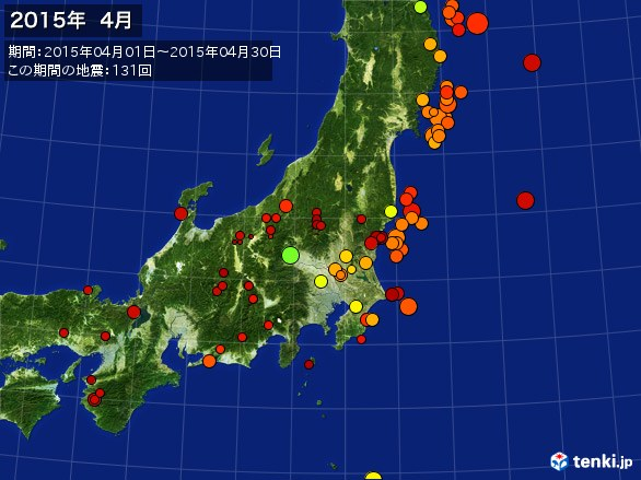 東日本・震央分布図(2015年04月)