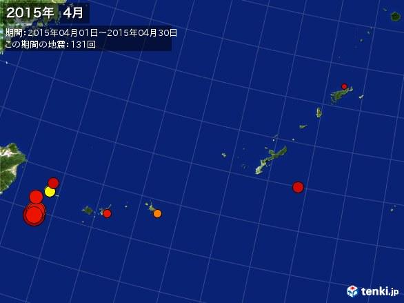 沖縄・震央分布図(2015年04月)