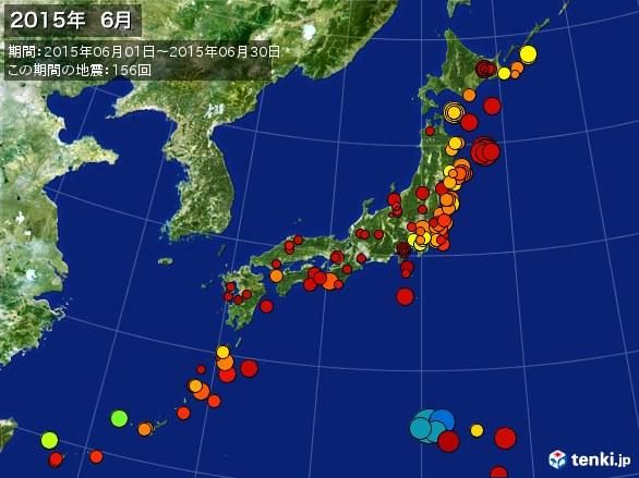 日本全体・震央分布図(2015年06月)