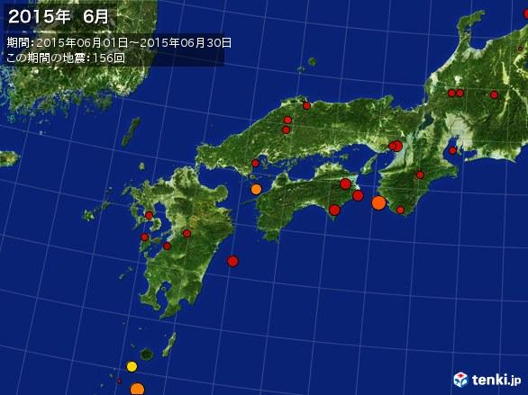 西日本・震央分布図(2015年06月)