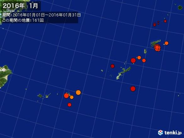 沖縄・震央分布図(2016年01月)
