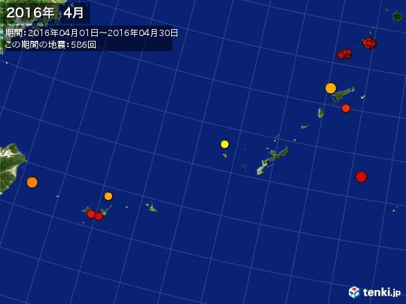 沖縄・震央分布図(2016年04月)
