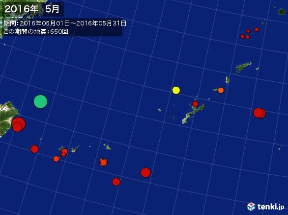 沖縄・震央分布図(2016年05月)