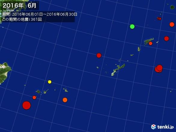 沖縄・震央分布図(2016年06月)