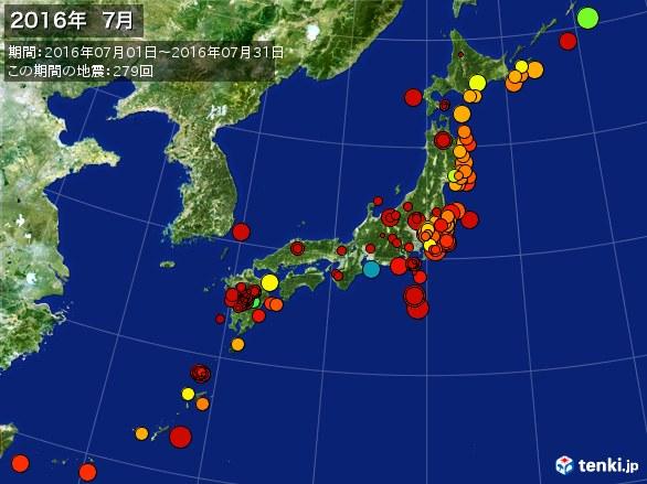 日本全体・震央分布図(2016年07月)