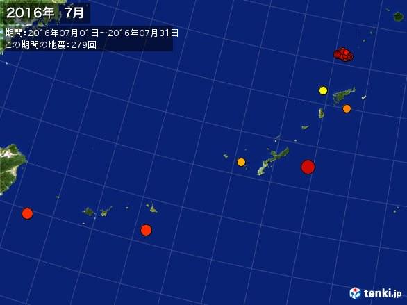 沖縄・震央分布図(2016年07月)