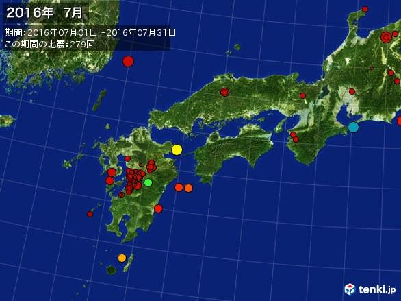 西日本・震央分布図(2016年07月)