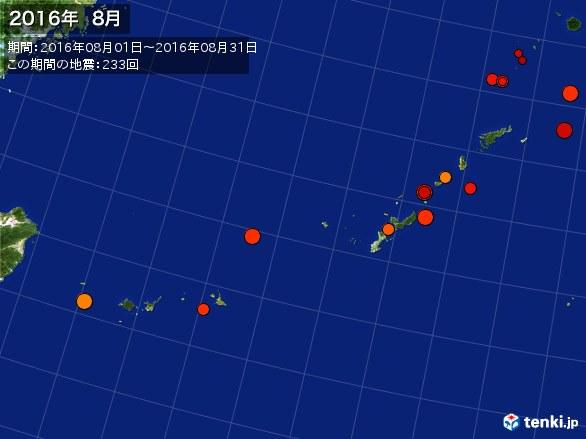 沖縄・震央分布図(2016年08月)