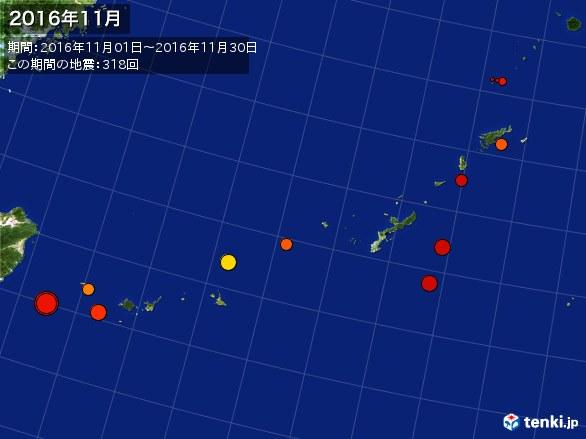沖縄・震央分布図(2016年11月)