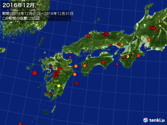 西日本・震央分布図(2016年12月)