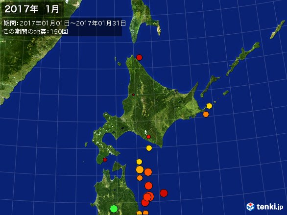 北日本・震央分布図(2017年01月)