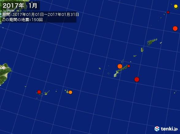 沖縄・震央分布図(2017年01月)