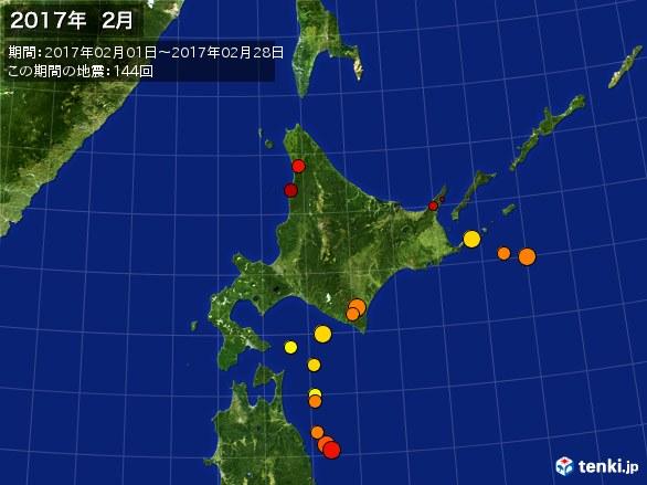 北日本・震央分布図(2017年02月)