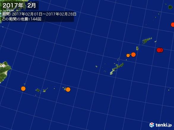 沖縄・震央分布図(2017年02月)