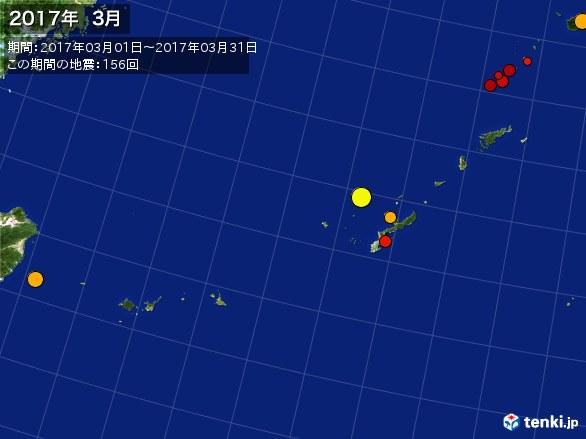 沖縄・震央分布図(2017年03月)