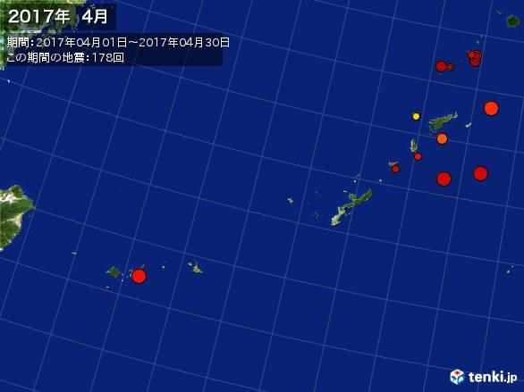 沖縄・震央分布図(2017年04月)