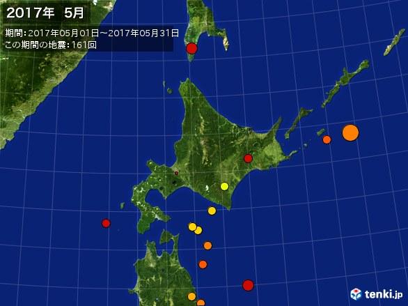 北日本・震央分布図(2017年05月)