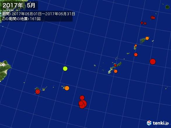 沖縄・震央分布図(2017年05月)