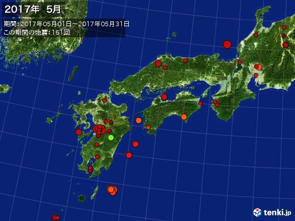 西日本・震央分布図(2017年05月)