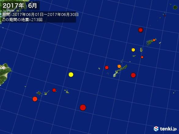沖縄・震央分布図(2017年06月)
