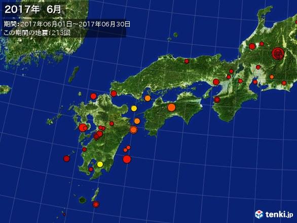 西日本・震央分布図(2017年06月)