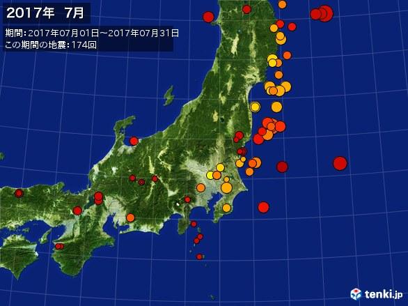 東日本・震央分布図(2017年07月)