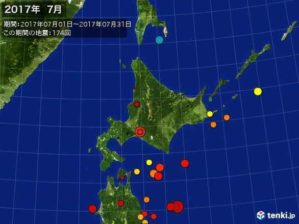 北日本・震央分布図(2017年07月)