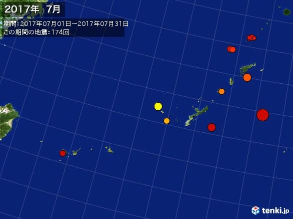 沖縄・震央分布図(2017年07月)