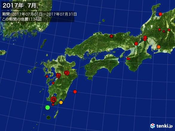 西日本・震央分布図(2017年07月)