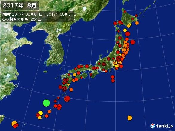 日本全体・震央分布図(2017年08月)