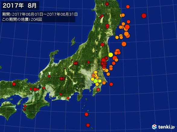 東日本・震央分布図(2017年08月)