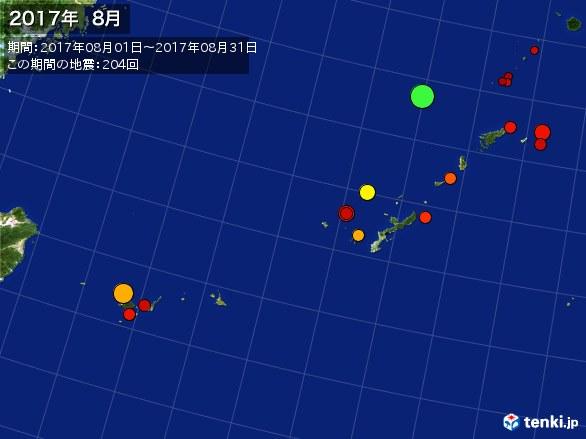 沖縄・震央分布図(2017年08月)