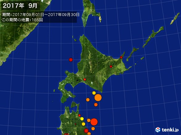 北日本・震央分布図(2017年09月)