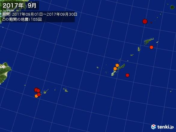 沖縄・震央分布図(2017年09月)
