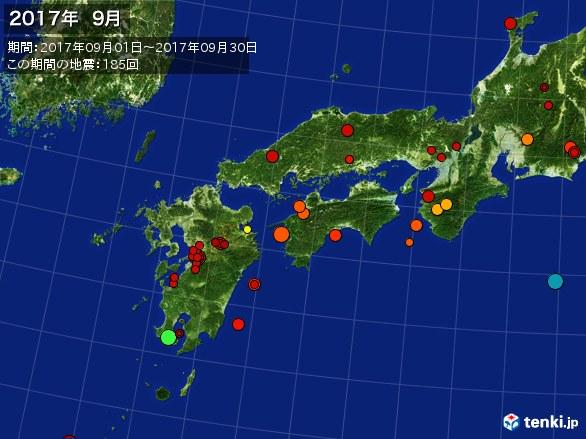 西日本・震央分布図(2017年09月)