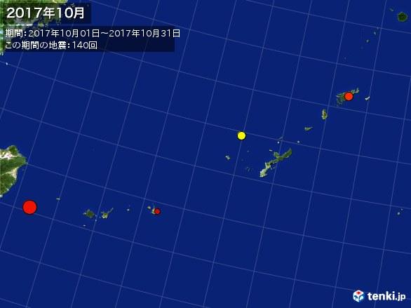 沖縄・震央分布図(2017年10月)