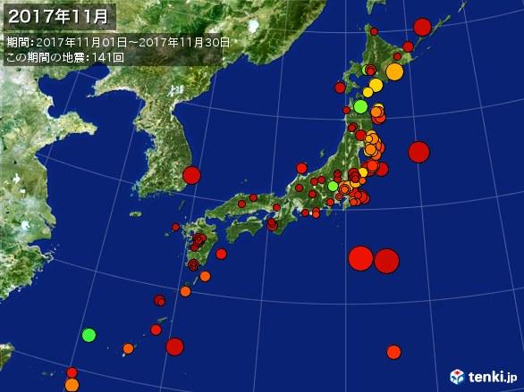 日本全体・震央分布図(2017年11月)
