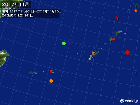 沖縄・震央分布図(2017年11月)