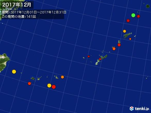 沖縄・震央分布図(2017年12月)