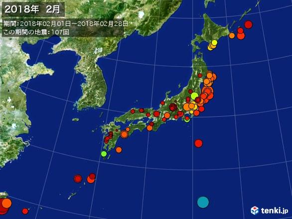 日本全体・震央分布図(2018年02月)